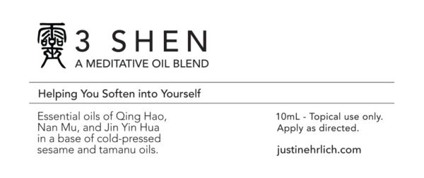 3 Shen Meditation Oil product label