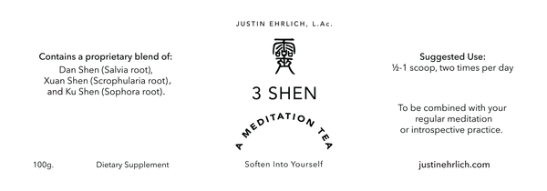 3 Shen Meditation Tea product label