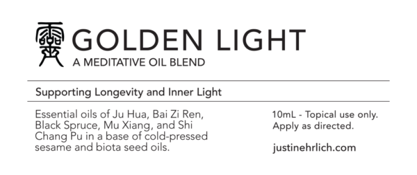 Golden Light Meditation Oil product label