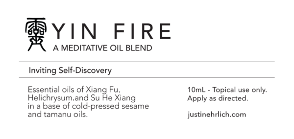 Yin Fire Meditation Oil product label
