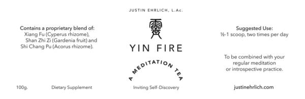 Yin Fire Meditation Tea product label